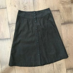 Banana Republic Wool A-Line Full Skirt Button Down